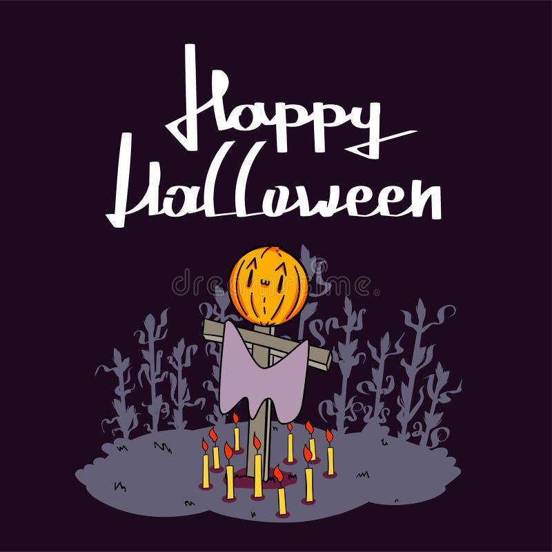 De gelukkige Halloween-truc of behandelt pompoenen, knuppels en spinnewebvolle maan op donkere nachtdecoratie als achtergrond voo stock foto's