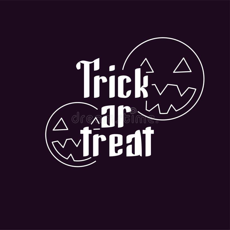 De gelukkige Halloween-truc of behandelt pompoenen, knuppels en spinnewebvolle maan op donkere nachtdecoratie als achtergrond voo stock foto