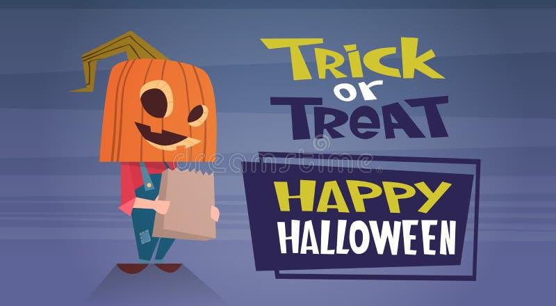 De gelukkige Halloween-van de de Decoratieverschrikking van de Bannervakantie van de de Partijgroet van het de Kaart Leuke Beeldv vector illustratie