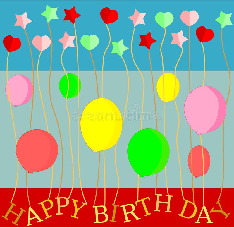 De gelukkige de harten en de sterren vectorillustratie van de groetkaart van de Verjaardagsballon vector illustratie