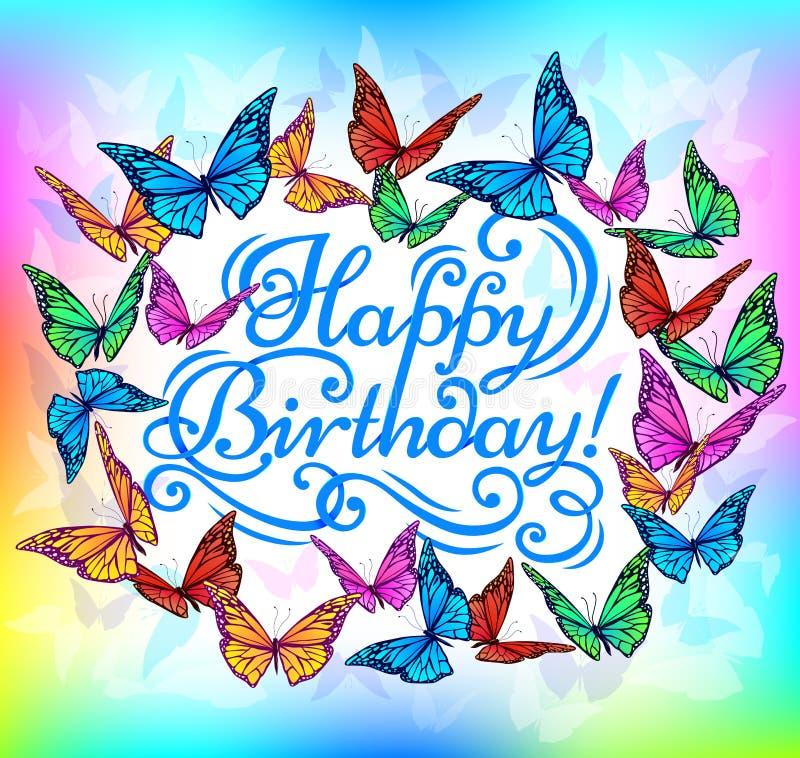 De gelukkige heldere vlinder van de Verjaardagsbanner royalty-vrije illustratie