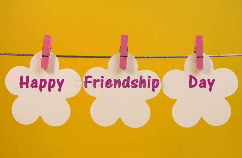De gelukkige het berichtgroet van de Vriendschapsdag over witte bloem etiketteert het hangen van pinnen op een lijn royalty-vrije stock afbeelding