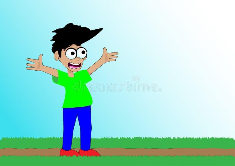 De gelukkige het glimlachen jongen status in gras met zijn wapens spreidde open uit stock afbeelding