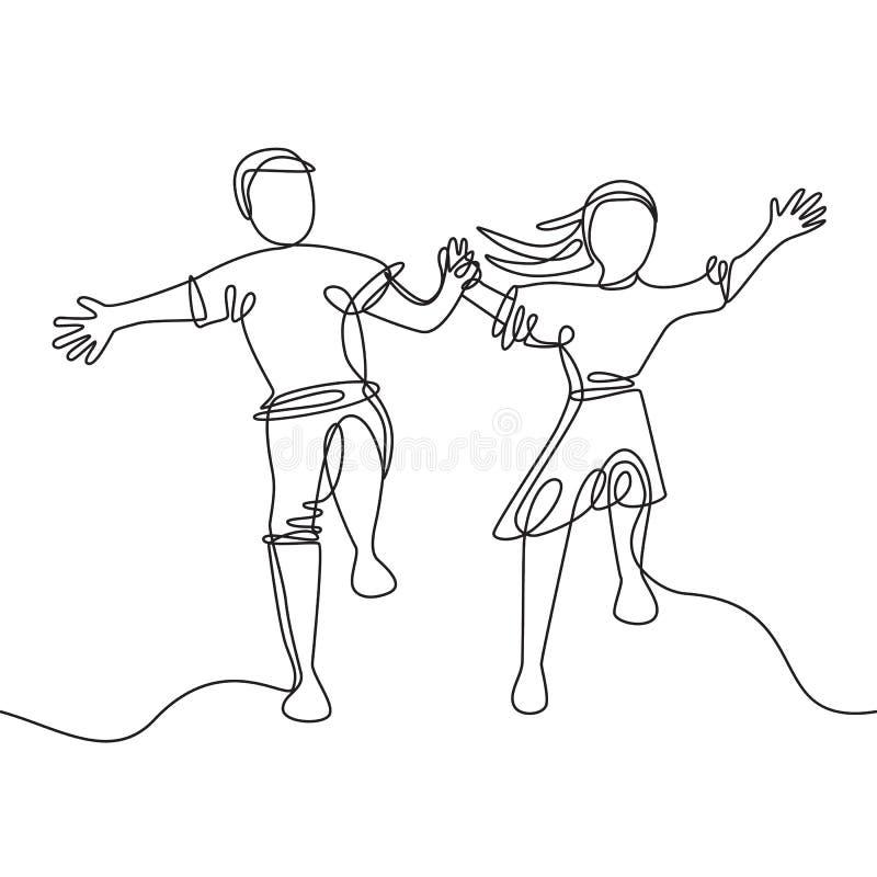 De gelukkige het springen handen van de paarholding - ononderbroken lijntekening stock illustratie