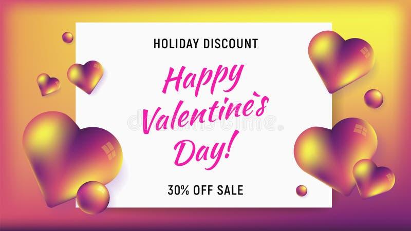 De gelukkige horizontale achtergrond van de valentijnskaartendag vector illustratie