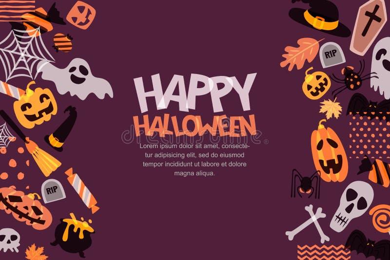 De gelukkige horizontale banner van Halloween met hand getrokken krabbelpompoen, schedel, heksenhoed, beenderen, suikergoed, spoo vector illustratie