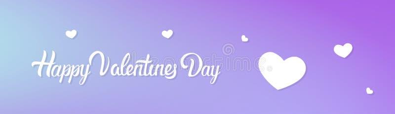 De gelukkige Horizontale Banner van de Valentijnskaartendag met het Van letters voorzien en Hartvorm op Violet Background vector illustratie