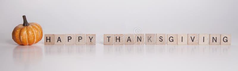 De gelukkige Houten Stukken van de Dankzegging royalty-vrije stock afbeelding