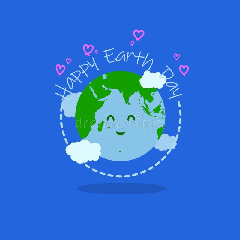 De gelukkige illustratie van de aardedag met gelukkige aardetypografie bij het midden heeft het karakter van de glimlachaarde en  stock illustratie