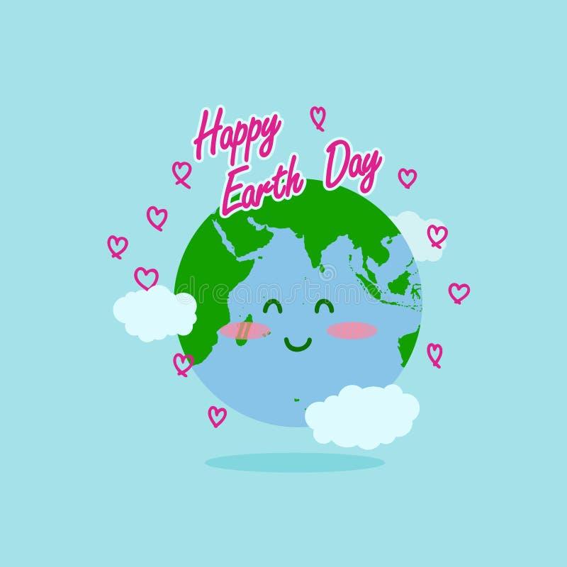 De gelukkige illustratie van de aardedag met de gelukkige typografie van de aardedag, aardekarakter als achtergrond en liefdelijn royalty-vrije illustratie