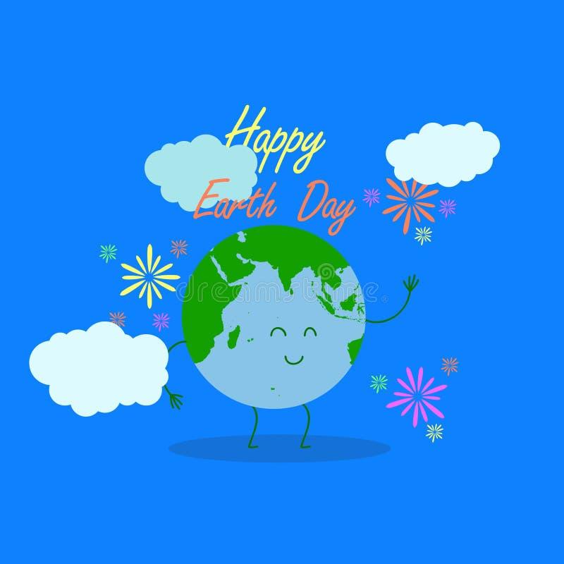De gelukkige illustratie van de aardedag met de gelukkige typografie van de aardedag, aardekarakter als achtergrond en liefdelijn stock illustratie