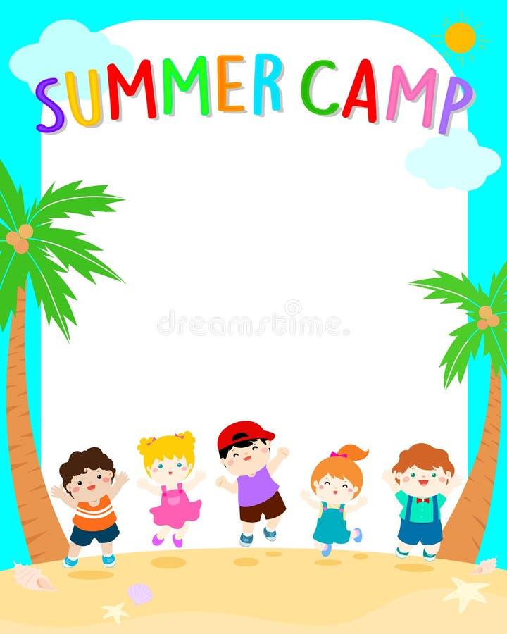 De gelukkige illustratie van de het kamp vectoraffiche van de zomerjonge geitjes royalty-vrije illustratie