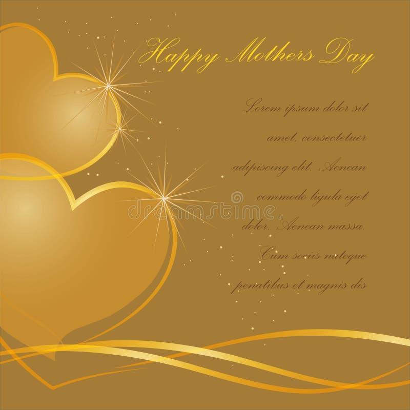 De gelukkige illustratie van de Moedersdag met gouden hart stock afbeelding