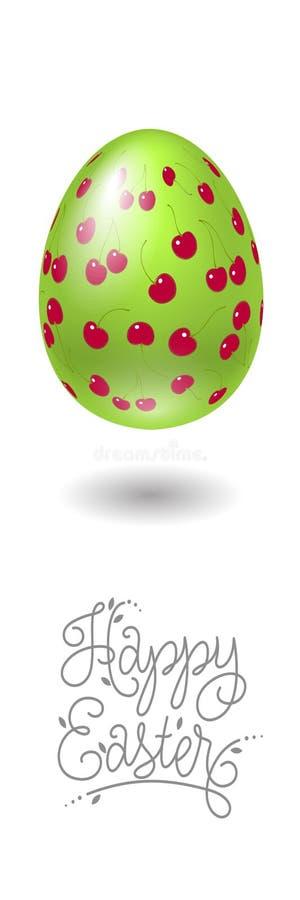 De gelukkige Illustratie van Pasen Het beeld wordt gemaakt in a Paasei met kersenpatroon royalty-vrije illustratie