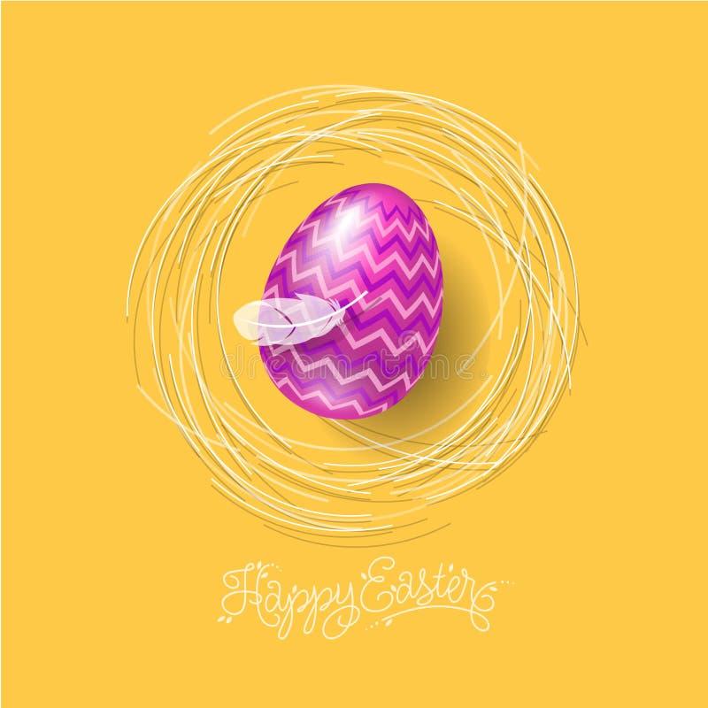 De gelukkige Illustratie van Pasen Het van letters voorzien en paasei met veer op een nest vector illustratie