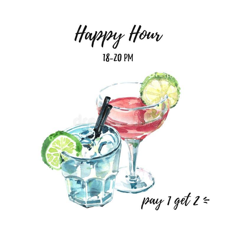 De gelukkige illustratie van de uurhand getrokken waterverf met twee cocktails De kosmopolitische en versierde muilezel verse coc vector illustratie