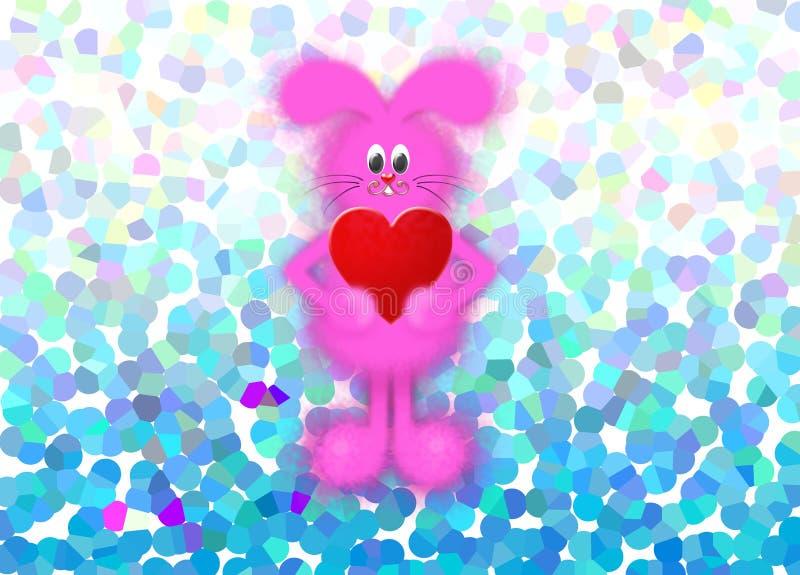 De gelukkige illustratie van de Valentijnskaartendag met konijntje royalty-vrije illustratie