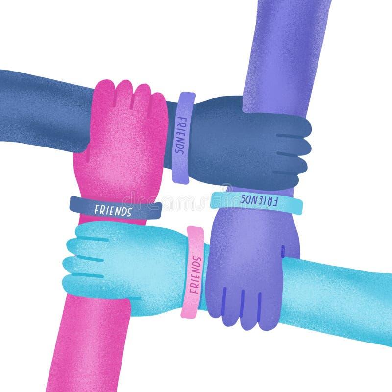 De gelukkige illustratie van de vriendschapsdag Kleurrijke vier die handen samen op witte achtergrond worden gekruist Geweven ill royalty-vrije illustratie