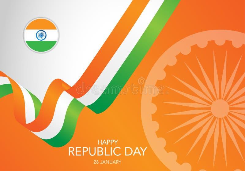 De gelukkige Indische dag van de republiek Malplaatje van groetkaart, banner met het van letters voorzien Golvende Indische die v royalty-vrije illustratie