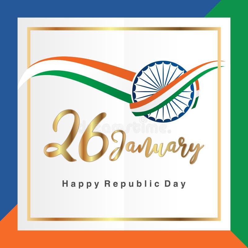 De gelukkige Indische Republiek dag 26 Januari-viering eert de datum waarop de Grondwet van India affiche of banner vormde royalty-vrije illustratie