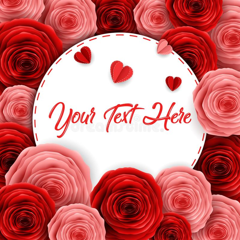 De gelukkige internationale de groetkaart van de vrouwen` s dag met document sneed rozenbloem en ronde kaderruimte voor tekst royalty-vrije illustratie