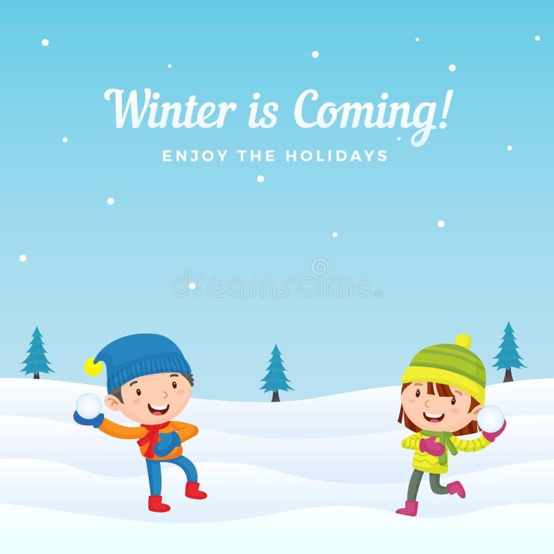 De gelukkige jonge geitjes genieten van speel sneeuwbalstrijd in wintertijd vectorillustratie als achtergrond De kaart van de vak royalty-vrije illustratie