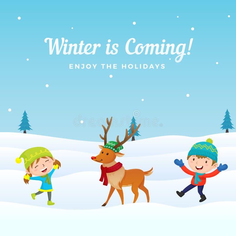 De gelukkige jonge geitjes springen en genieten van speel met leuk gekleed rendier in wintertijd vectorillustratie als achtergron royalty-vrije illustratie