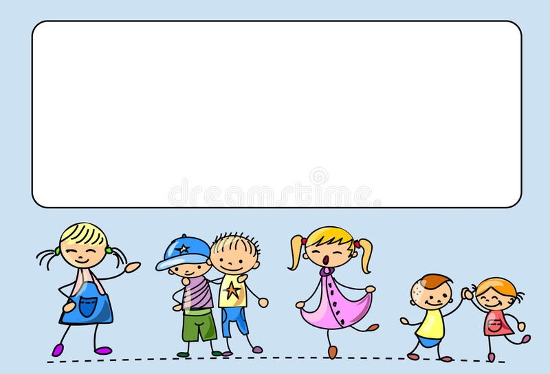De gelukkige jonge geitjesdans, zingt, springt, loopt, vector vector illustratie