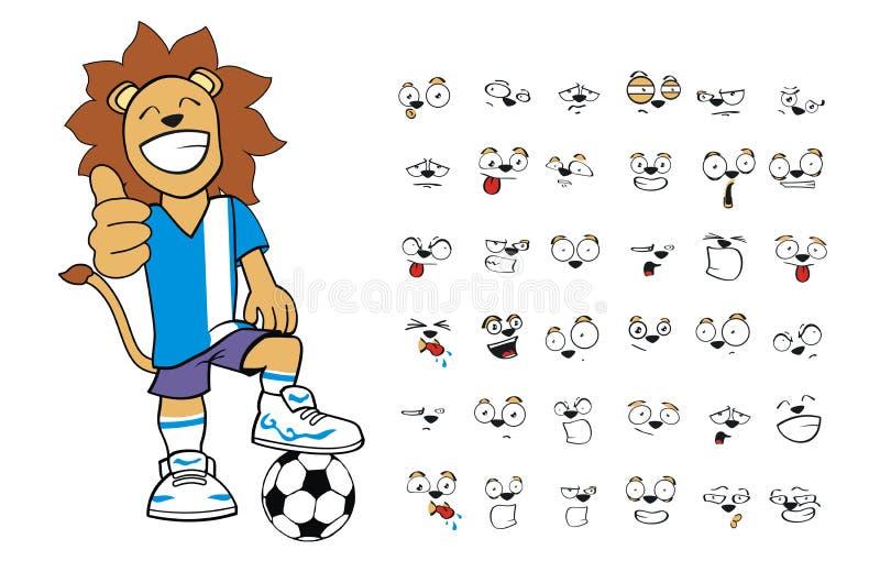 De gelukkige jonge uitdrukkingen van het de leeuwbeeldverhaal van het voetbaljonge geitje geplaatst inzameling vector illustratie
