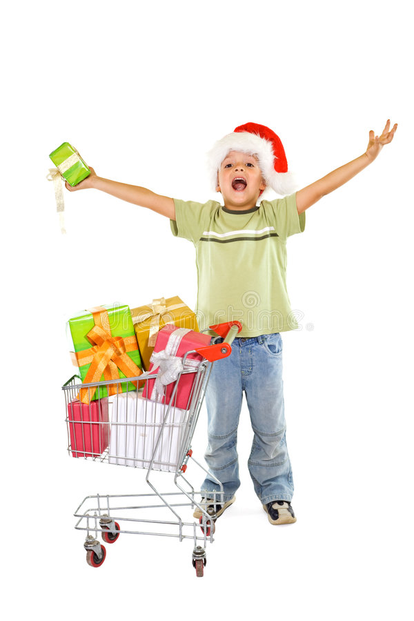 De gelukkige jongen met Kerstmis stelt voor stock fotografie