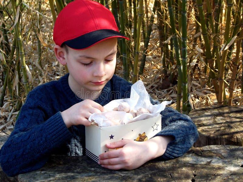 De gelukkige jongen in rood GLB eet doughnut Haver donuts met kaneel, gepoederde suiker en koffie Ronde fritter Zoet smakelijk vo stock foto
