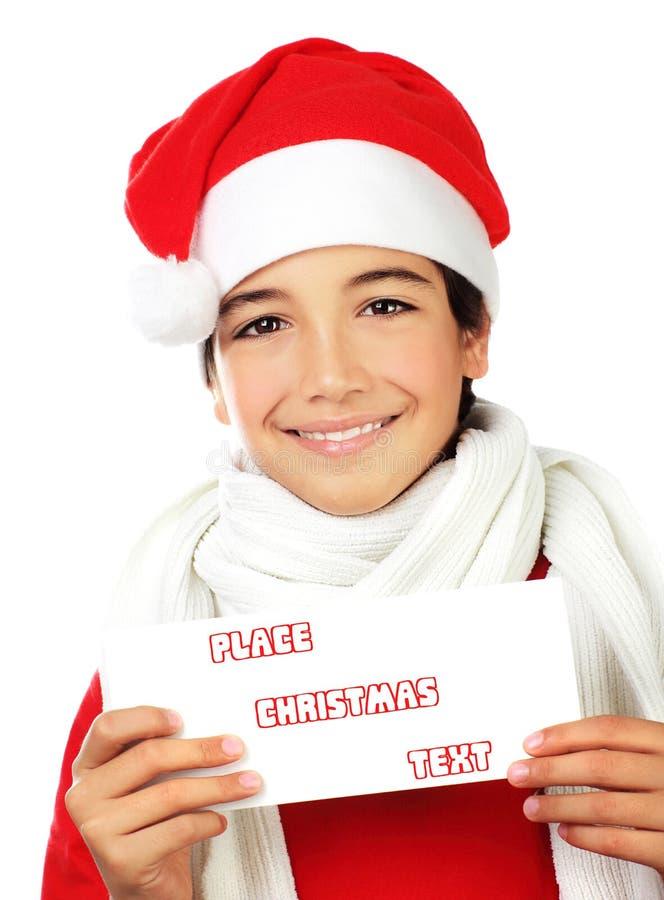 De gelukkige jongen van de Kerstman stock afbeelding