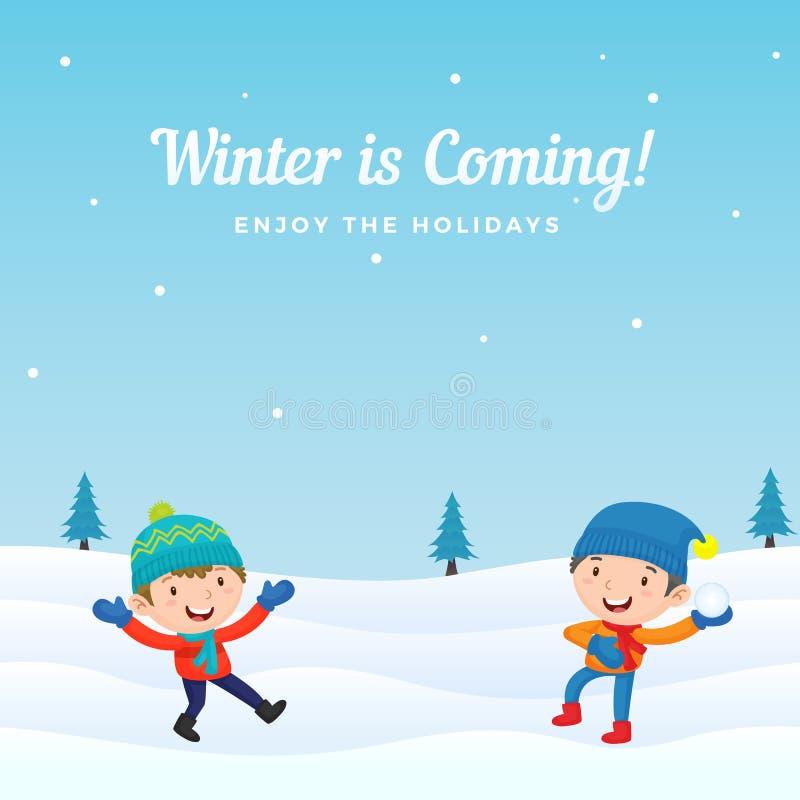De gelukkige jongensjonge geitjes genieten van speel sneeuwbalstrijd in wintertijd vectorillustratie als achtergrond De kaart van stock illustratie
