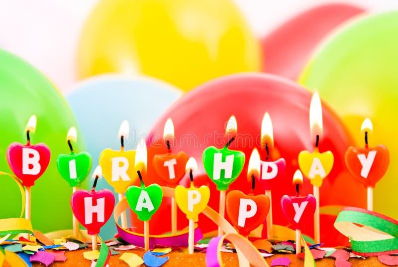 De gelukkige kaarsen van de Verjaardag royalty-vrije stock fotografie