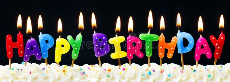 De gelukkige Kaarsen van de Verjaardag stock foto's