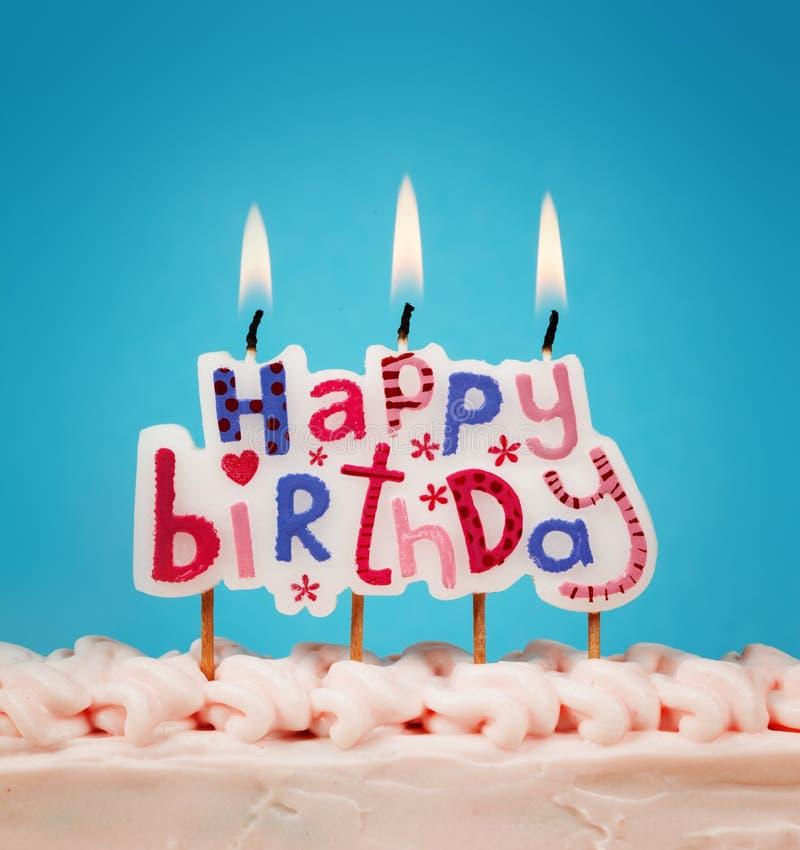 De gelukkige Kaarsen van de Verjaardag stock fotografie