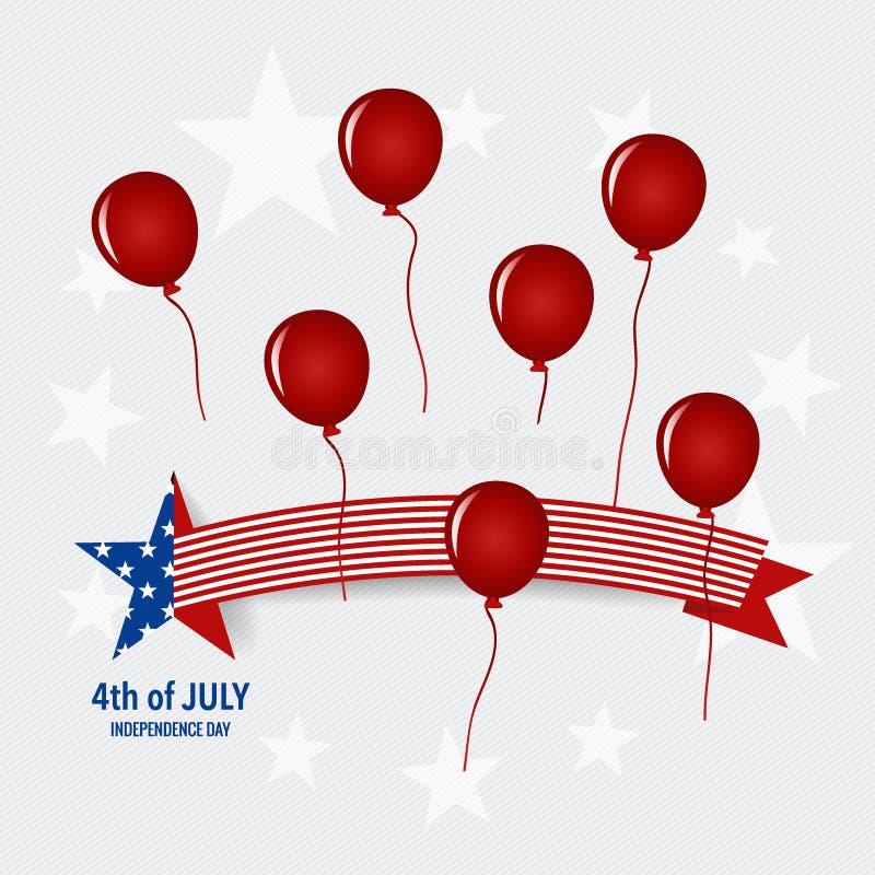 De gelukkige kaart de Verenigde Staten van Amerika van de onafhankelijkheidsdag Amerikaans F vector illustratie