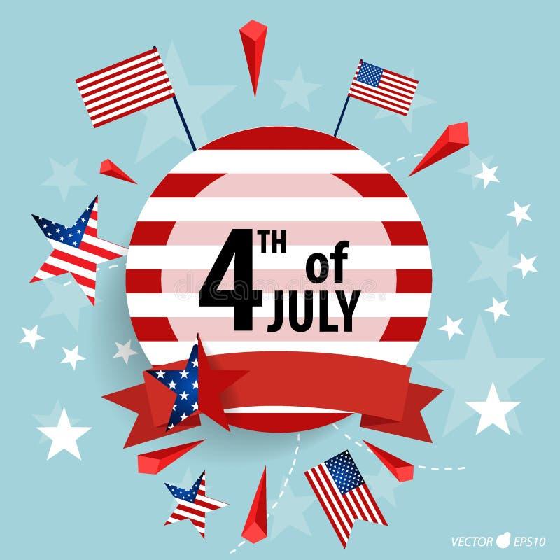 De gelukkige kaart de Verenigde Staten van Amerika van de onafhankelijkheidsdag Amerikaans F royalty-vrije illustratie