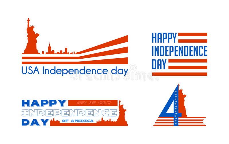 De gelukkige kaart de Verenigde Staten van Amerika van de onafhankelijkheidsdag Amerikaans Vlagdocument ontwerp, vectorillustrati stock illustratie