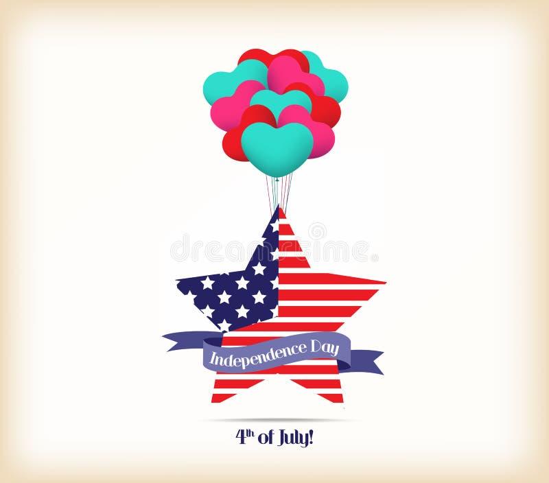 De gelukkige kaart de Verenigde Staten van Amerika van de onafhankelijkheidsdag vierde van Juli-het ontwerp van de bannerillustra stock illustratie