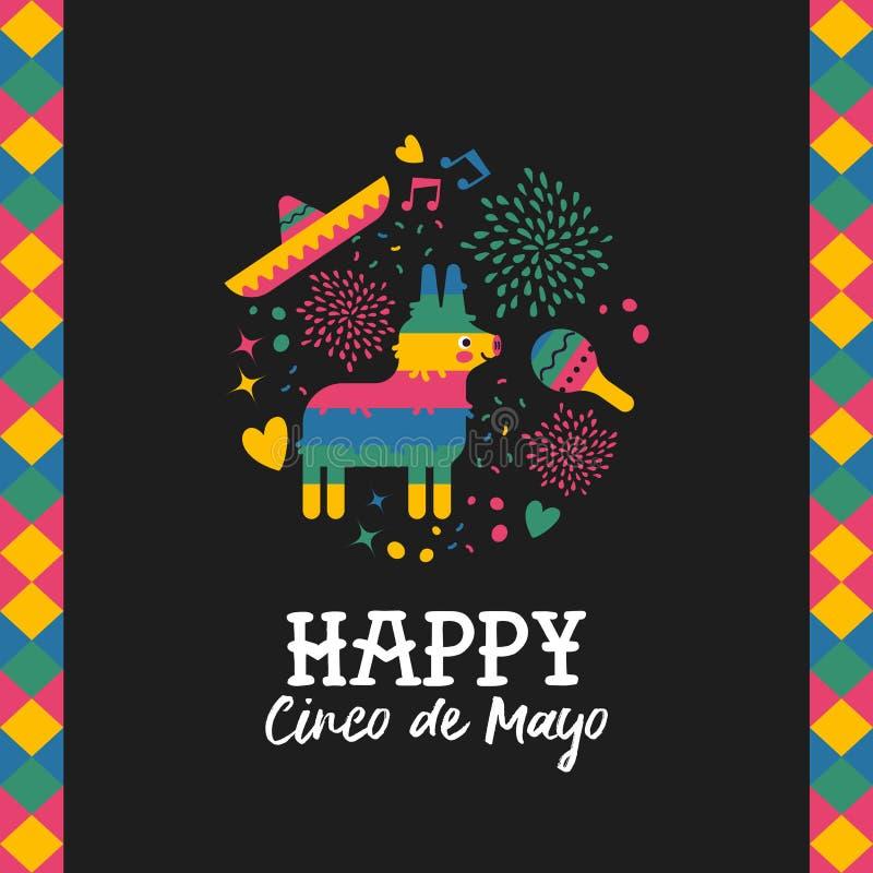 Download De Gelukkige Kaart Van Cincode Mayo Leuke Mexicaanse Pinata Vector Illustratie - Illustratie bestaande uit latijns, kaart: 114225856
