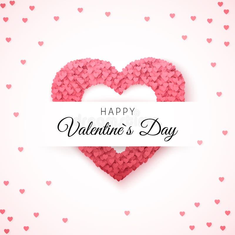 De gelukkige kaart van de de daggroet van Valentijnskaarten De kaartmalplaatje van de groet Het kader van de hartvorm met harten  vector illustratie