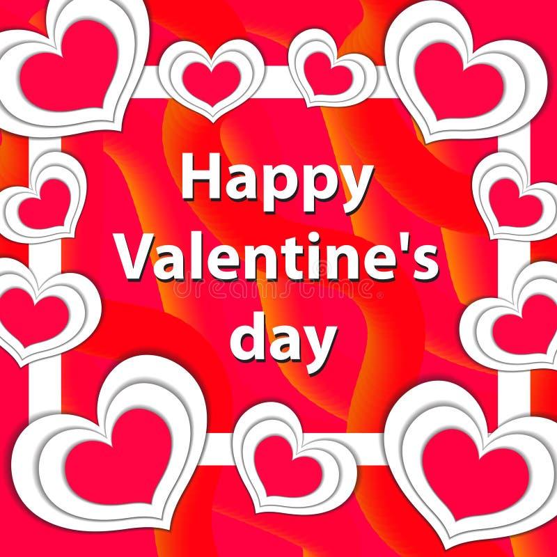 De gelukkige kaart van de de daggroet van Valentine ` s, malplaatje voor uw ontwerp Vector illustratie stock illustratie