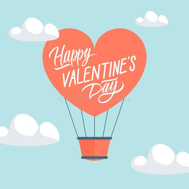 De gelukkige kaart van de de Daggroet van Valentine ` s met de hete luchtballon van de hartvorm stock illustratie