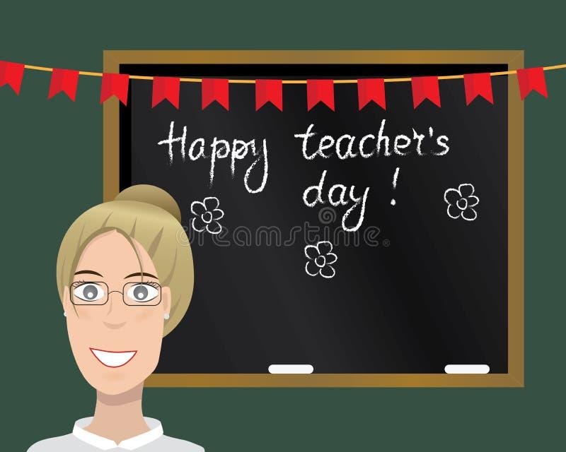 De gelukkige kaart van de Lerarendag Vector illustratie stock illustratie