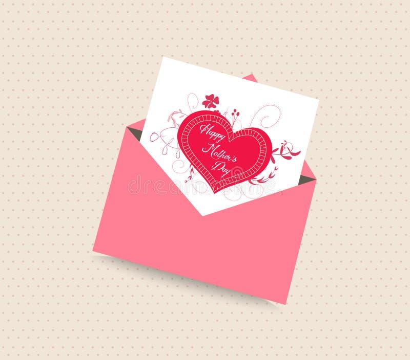 De gelukkige kaart van de moedersdag met envelophart stock illustratie