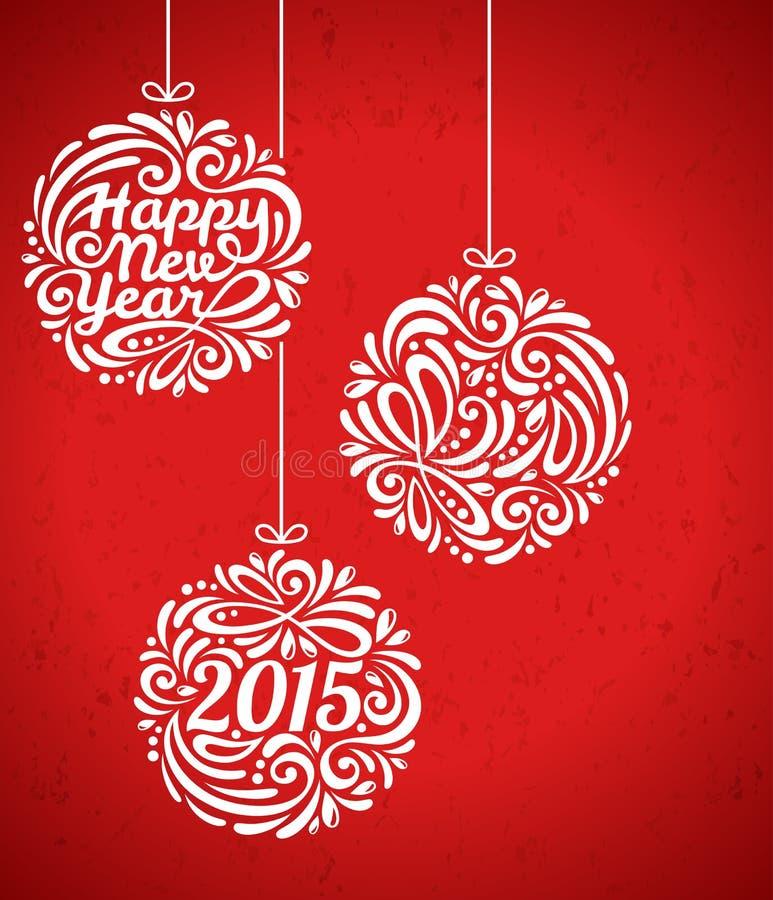 De gelukkige Kaart van de Nieuwjaar 2015 Groet in minimalistic stock illustratie