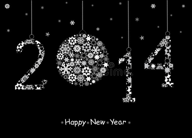 2014 de Gelukkige kaart van de Nieuwjaargroet. vector illustratie