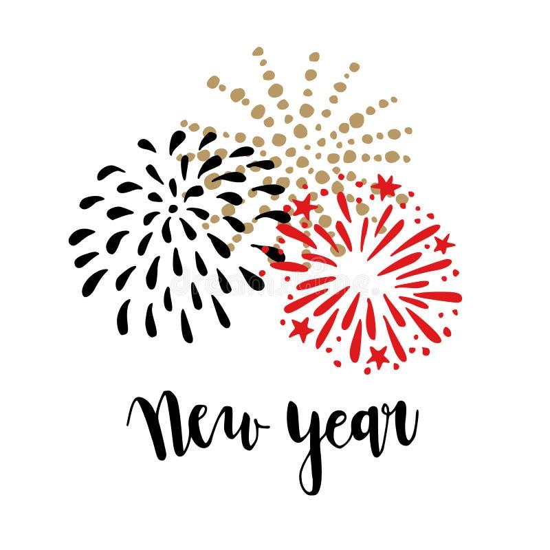 De gelukkige kaart van de Nieuwjaargroet, uitnodiging Borstel van letters voorziende tekst met krabbelhand getrokken vuurwerk Fee vector illustratie
