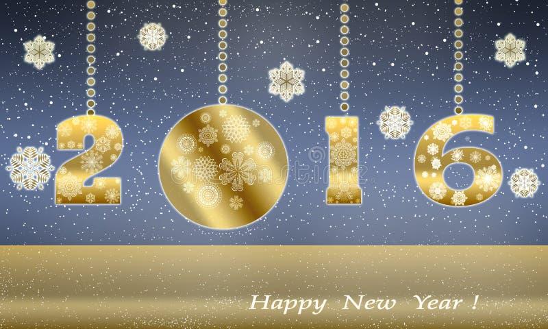 De gelukkige kaart van de Nieuwjaargroet in 2016 van gouden sneeuwvlokken vector illustratie